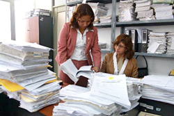 The larger the District Court the larger the back log. Minimal effort is placed by the local authorities of the Peruvian courts to modernize an archaic filing and storing system. These images are not a thing of the past, rather, they are Peru's legal present.